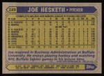 1987 Topps #189  Joe Hesketh  Back Thumbnail