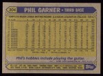 1987 Topps #304  Phil Garner  Back Thumbnail