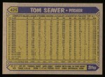 1987 Topps #425  Tom Seaver  Back Thumbnail