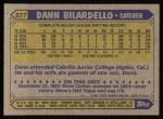 1987 Topps #577  Dann Bilardello  Back Thumbnail