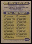 1987 Topps #218  Sparky Anderson  Back Thumbnail