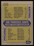 1987 Topps #231   Giants Team Back Thumbnail