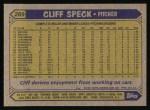 1987 Topps #269  Cliff Speck  Back Thumbnail