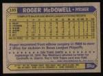 1987 Topps #185  Roger McDowell  Back Thumbnail