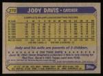 1987 Topps #270  Jody Davis  Back Thumbnail