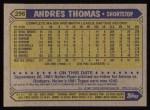 1987 Topps #296  Andres Thomas  Back Thumbnail