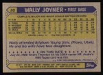 1987 Topps #80  Wally Joyner  Back Thumbnail