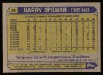1987 Topps #64  Harry Spilman  Back Thumbnail