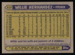 1987 Topps #515  Willie Hernandez  Back Thumbnail