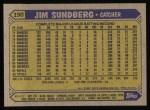 1987 Topps #190  Jim Sundberg  Back Thumbnail