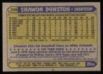 1987 Topps #346  Shawon Dunston  Back Thumbnail
