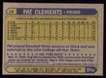 1987 Topps #16  Pat Clements  Back Thumbnail
