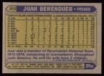 1987 Topps #303  Juan Berenguer  Back Thumbnail