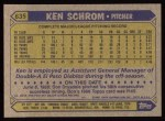 1987 Topps #635  Ken Schrom  Back Thumbnail