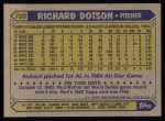 1987 Topps #720  Richard Dotson  Back Thumbnail