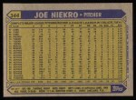 1987 Topps #344   Joe Niekro   Back Thumbnail
