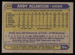 1987 Topps #436  Andy Allanson  Back Thumbnail