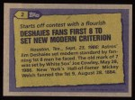 1987 Topps #2   -  Jim Deshaies Record Breaker Back Thumbnail
