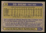 1987 Topps #35  Sid Bream  Back Thumbnail