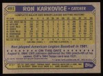 1987 Topps #491  Ron Karkovice  Back Thumbnail