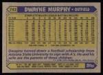 1987 Topps #743  Dwayne Murphy  Back Thumbnail