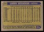 1987 Topps #298  Larry Herndon  Back Thumbnail