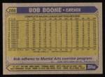 1987 Topps #166  Bob Boone  Back Thumbnail