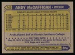 1987 Topps #742  Andy McGaffigan  Back Thumbnail