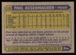 1987 Topps #132  Paul Assenmacher  Back Thumbnail