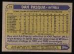 1987 Topps #74  Dan Pasqua  Back Thumbnail