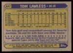 1987 Topps #647  Tom Lawless  Back Thumbnail