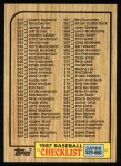 1987 Topps #654   Checklist 529 - 660 Front Thumbnail