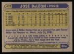 1987 Topps #421  Jose DeLeon  Back Thumbnail