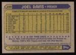 1987 Topps #299  Joel Davis  Back Thumbnail
