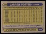 1987 Topps #689  Darrell Porter  Back Thumbnail