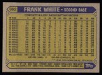 1987 Topps #692  Frank White  Back Thumbnail