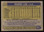 1987 Topps #574  Manny Lee  Back Thumbnail