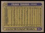 1987 Topps #726  Frank Tanana  Back Thumbnail