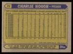 1987 Topps #70  Charlie Hough  Back Thumbnail