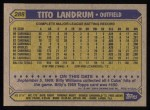 1987 Topps #288  Tito Landrum  Back Thumbnail
