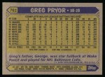 1987 Topps #761  Greg Pryor  Back Thumbnail