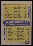 1987 Topps #656   Rangers Team Back Thumbnail