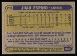 1987 Topps #239  Juan Espino  Back Thumbnail