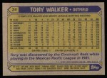 1987 Topps #24  Tony Walker  Back Thumbnail
