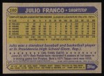 1987 Topps #160  Julio Franco  Back Thumbnail