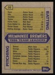 1987 Topps #56   Brewers Team Back Thumbnail