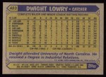 1987 Topps #483  Dwight Lowry  Back Thumbnail