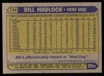 1987 Topps #734  Bill Madlock  Back Thumbnail