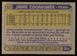 1987 Topps #423  Jaime Cocanower  Back Thumbnail