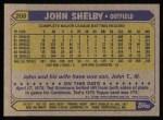 1987 Topps #208  John Shelby  Back Thumbnail